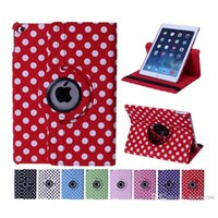 Wholesale Ipad Air Flip Case Dhl - Dots Rotating Stand Leather Case For iPad Mini 1 2 3 Retina Air 4 5 Smart Sleep Wakeup PU Flip Cover DHL