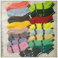 Pink Letter Socks Pink Anklet Cotton Sports Hosiery Fashion Campus Socks Slipper Girl Sexy Summer Ship Meias 2pcs / par CCA7452 1000pair