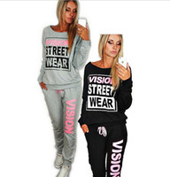 Wholesale Denim Rhinestone Shirt - Women 2PCS Tracksuit Sports Long Sleeve Shirt Running Sportwear Hoodie Sweatshirt Pants Sports Wear Casual Jogging Suit - Free Shipping