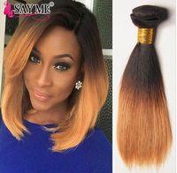 Wholesale Short Straight Hair Extensions - 1b 4 27 Ombre Brazilian Virgin Straight Hair 3 Bundles Short Ombre Blonde Bob Human Hair Weave Tone Hair Extensions