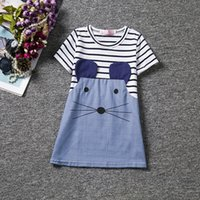 Wholesale Mouse Outfits - Kids Girls cute little mouse pattern dress cotton animal print striped short sleeve dress splicing color summer outfits for 2-6T