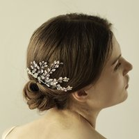 Wholesale Accessories Clay - Graceful Gold Silver Bridal Tiaras Pearls Headbands Hair Flowers Bridal Wedding Hair Accessories High Quality Women Headpieces CPA899