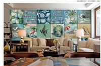 Wholesale Modern Collage - Small fresh blue Mediterranean style oil painting box collage background wall classic wallpaper for walls