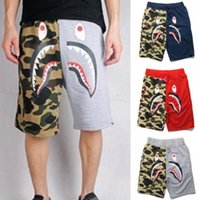 Wholesale Blue Gray Camo Pants - New Summer Men's Shark Shorts Cotton Camo Causal Shorts Men Casual Camouflage Skateboard Short Pants Loose Streetwear