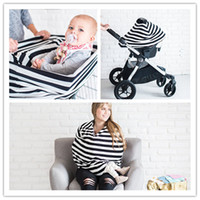 Wholesale Knitted Car Seat Covers - Multifunctional Nursing Cover 4in1 Fashion Striped Knitting fabric Shopping Cart Cover Baby Carrier shade cloth Baby Car Seat Canopy