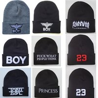 Wholesale Black Eagle Order - Winter BOY LONDON Eagles Knitted Wool Cap Fashion Embroidered Black Warm Hat For Boy Girls' Beanies Hats Men Hiphop Caps Sport Mix Order