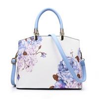 Wholesale Ladies Doctor Bag - 2017 Flower Printing Ladies Handbag New Doctor High Quality PU Leather Women Handbags Shoulder Bag Female Designer Famous Brand Tote