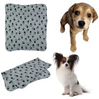 Wholesale Warm Pet Puppy Dog Cat Small Medium Large Paw Print Pet Cat Dog Fleece Soft Blanket Bed Mat Cover