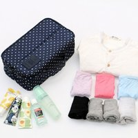 Wholesale Plain White Underwear - New waterproof clothes organizer storage box underwear bra packing makeup make up organizer cosmetic cloth storage travel bags 8Colors