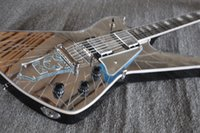 Rare Cracked Mirror Wash Iceman Paul Stanley Signature Guitarra eléctrica Star Shape Mirror Tailpiece Pickguard Abulón MOP Block Inlay