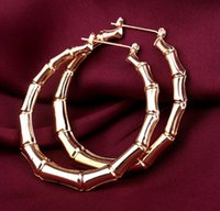 Wholesale Large Bamboo Earrings Wholesale - 12Pairs  Lot Fashion Punk Old School Gold Tone Bamboo Big Hoop Hiphop Large Circle Earrings 2017 Christmas