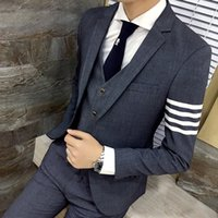 Wholesale Male Straight Jacket - Wholesale- Men's leisure New president of the influx of men hit color stripe jacket Personality male casual business dress blazer