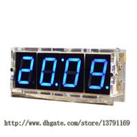 basamaklı basamak toptan satış-4 Haneli LED DIY Elektronik Digtal Çalar Saat Kiti Modülü Büyük Ekran Mavi LED Uygulama Seti