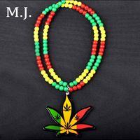 Wholesale Leaf Man Costumes - Fashion Luxury Brand Good Wood Hip Hop Necklace Men Long Chain Beads Leaf Necklaces Pendants Women Costume Jewelry Wholesale