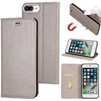Wholesale Magnet Phone Cases - For iPhone 7 6 plus 5 Luxury Flip Stand Case with Card Slot PC Magnetic Magnet Phone Case For Samsung S8 Plus S7 Edge