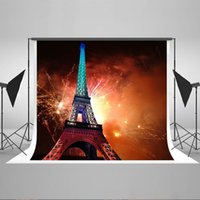 Wholesale Eiffel Tower Backgrounds - Kate 7x5ft Night Eiffel Tower Photography Backdrop Fireworks Photo Background for Newborn Photo Booth Props YY00442