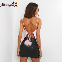 Ahmagen Lace Up Fliege Plüsch Ball Camisole Tank Top Frauen Sommer Strand Weibliche Cami Crop Tops Sexy Backless Ärmelloses Kurze Top