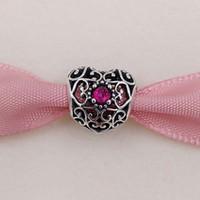 Wholesale Jewelry July - July Signature Heart Birthstone Charm 925 Sterling Silver Beads Fits European Pandora Style Jewelry Bracelets 791784SRU Birthday Gift