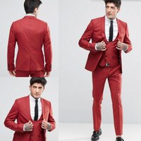 Wholesale Cool Groom Vests - New Fashion Handsome Groom suits Tuxedos Shawl Lapel One Button Groom Suits Extremely Cool Best Man Suits (Jacket+Pants+Vest)