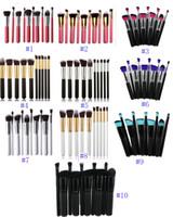 Wholesale Pro Makeup Bags - 2017 Pro Cosmetic Makeup 10 Pcs Kabuki Superior Soft Cosmetics Make Up Brush Set Woman's Brush kit Makeup Brushes OPP bag 10 colors