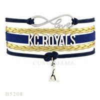 Wholesale Kc Mens - Custom-Infinity Love KC Royals Baseball Charm Bracelets Christmas Gift Bracelet Gold Navy Blue Leather Custom Mens Bracelet