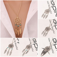 Wholesale Turquoise Jewelry For Girls - Hot Fashion Feather Pendant Necklaces 6 Styles Alloy Dream Catcher girl Necklace For Women Statement Elegant Necklace Jewelry Wholesale
