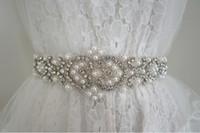 Wholesale Pearl Decorated - Top quality ,Rhinestone + Pearl 100% pure hand bridal belt, wedding belt, luxury beading pearls wedding sashes 2017 , 5.3*62.5cm decorated