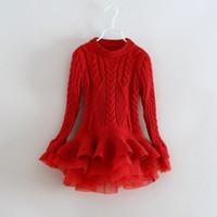bebek bayan süveter tutu toptan satış-Yeni moda Bebek Kız Dantel Tutu organze Kazak Elbiseler Çocuk Giyim 2017 Sonbahar Kış Uzun Kollu örgü Noel Prenses Elbise