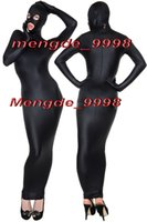 Wholesale cosplay costumes open - Sexy Black Lycra Spandex Body Bags Suit Catsuit Costumes Unisex Cosplay Costumes Outfit With Open Eyes Mouth Halloween Cosplay Suit M076