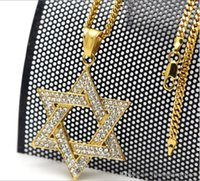 Hight quality Fashion MenWomen Inlay Rhinestone hexagram satellite pendentif Hiphop Statement Long Collier