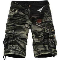 Wholesale Casual Style Work Men - Wholesale- 2017 Cargo Shorts Men Hot Sale Casual Fashion Summer Style Clothing Army Work Shorts Men Cotton Loose 7 Colors No Belt 42