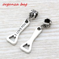 MIC .100pcs / lot Dangle Ancient Silver Single-sided I Love You Bottle Opener Charm Big Hole Beads Fit European Charm Pulseira Jóias A-108a
