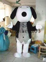 Wholesale White Dog Mascot Suit - 2017 high quality gentleman suit white dog men and women general Christmas costumes for Halloween party cartoon mascot adult size