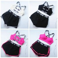 Wholesale Bra Pants Sets - PINK Tracksuit Women Summer Sport Wear Cotton Yoga Suit Fitness Bra Shorts Gym Top Vest Pants Running Underwear Sets Runner Outfits B2601