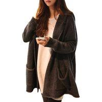 Wholesale Thick Hooded Cardigan Sweater - Wholesale-Spring Autumn long sweater women Korean jumper loose big yards leisure hooded cardigan sweaters coat clothing vestidos LXJ341