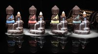 Wholesale Small Buddhas - Small Buddha Cone Incense Burner Incense Sticks Holder Yixing Purple Clay Creative Backflow Tower Censer Home Office Decor