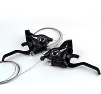 дисковые тормоза mtb оптовых-Новый 21 скорость велосипед переключения тормоз MTB горный велосипед Велоспорт дисковые тормоза рычаги с кабелем переключения передач