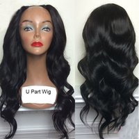 Wholesale U Part Human Hair Wigs Wavy Brazilian Virgin Hair Glueless U part Wig Body Wave Middle Part UPart Wig For Black Women