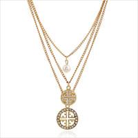 ingrosso perle di moda cinese-All'ingrosso-New Fashion Fine Accessories Multistrato Perla Strass Trafitto Hollow collane del pendente rotonde per le donne di stile cinese N-222