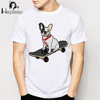 Wholesale Cheap Hooded Tops - Wholesale- French Bulldog Skateboard print T-shirt novelty men t-shirt cute cartoon tee shirt boy tops Cheap wholesale man t shirt homme