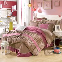 Wholesale Twin Pink Princess Bedding Duvet - Wholesale-Ms series princess style bedding set 100% cotton reactive printing include pillowcase duvet cover bed sheet the queen king size
