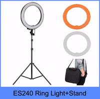 "Wholesale Adjustable Video Light - Wholesale-ES240 240 LED 18"" Stepless Adjustable Ring Light Camera Photo Video 240pcs LED 5500K Dimmable+ 2 Color Filter+ stand"