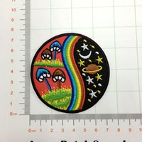 Wholesale Loving Machine - Mushroom rainbow hippie cosmic boho retro love peace applique iron-on patch space moon and star