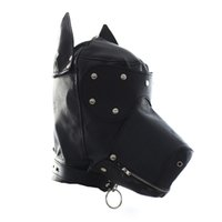 Wholesale Dog Mask Bondage - Fetish Leather SM Hood Dog Mask Head Harness Sex Slave Collar Leash Mouth Gag BDSM Bondage Blindfold Sex Toys For Couple Au Reve