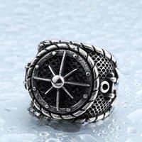 ingrosso anelli in titanio unici-Cool Big Anchor Ring For Man Acciaio inossidabile Rock Punk Anelli Uomo acciaio al titanio Unique Biker Gioielli moda BR8-341