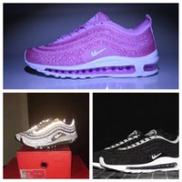 Wholesale Bag For Shoes Sport - With bag and box 97 LX Crystal Diamond Running Shoes For Women Men Limited Edition Air 97 OG Black White Sneakers Sports Shoes
