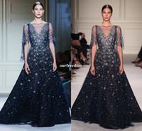 Wholesale Elie Saab Maternity - Elie Saab Shining Star Sequins Evening Dresses 2017 Sheer Jewel Neck Dark Navy Tulle Crystal Beaded Prom Pageant Occasion Dresses Custom