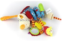 Wholesale-Baby Plush animal cão / leão / raposa Brinquedo Berço Cama Pendurado Anel Brinquedo Brinquedo Soft Baby Rattle Early Educational Doll
