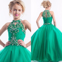 Wholesale Green Pageant Girl Dress - Green Tulle Beaded Girls Pageant Dresses Halter Neck Crystal Ball Gowns childern Prom Dress Flower Girl Gowns