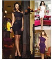 Wholesale Ladys Sexy - Hot sell one- shoulder short sleeve panelled mesh dress,sexy club and party beautiful dresses of girl and ladys
